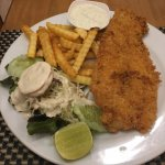 Fish and chips / fried chicken with rice both awesome..