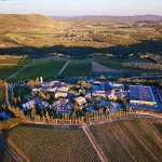 Drone photo looking down at the hotel and vineyards