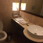 the bathroom..it also has a tub