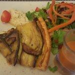Aubergine tarte, gespazo and salad