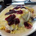 Hot Open-Face Turkey Sandwich... with corn, mashed potatoes and gravy, and cranberry salad