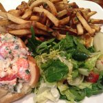Lobster roll, French fries, and salad