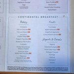 Menu showing full continental breakfast which wasn't all available