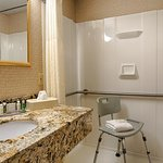 Two accessible guest rooms feature roll-in showers