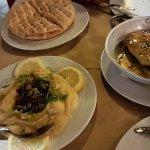 saganaki with honey and sessame seeds + santori fava beans dip