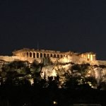 Evening Acropolis view from rooftop terrace