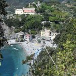 View of Hotel Pasquale (the pinkish building at end of beach); taken from trail to Vernazza