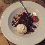 Choc brownie with ice cream