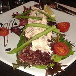Poached Salmon with Mixed Leaves, Asparagus, Lemon & Balsamic Dressing
