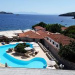 This was the stunning view from our balcony overlooking the pool and Aegean sea