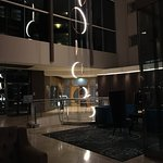 Hotel lobby with contemporary lighting decor