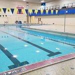 Hazen pool, photo taken from the pool-side entrance to the women's locker room