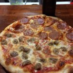 """Small 10"""" with half pepperoni and half sausage...very good with a crispy crust"""