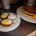 Scotch eggs with blueberry butter milk pancakes short stack