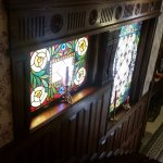 Stained glass by stairs