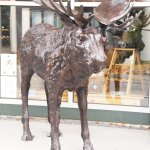 Close up of Chocolate Moose's Moose statue
