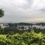 Watching cable cars from Mount Faber Park to Sentosa in distance (beyond buildings)