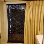 bathroom door is see-through, not lockable, on 2 of 4 sides!!bathroom curtains are also see-thro