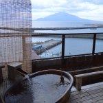 Balcony onsen and view of Rishiri Island
