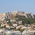Great view from the rooftop breakfast room to The Acropolis.
