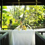 Intimate al-fresco tropical hut above the 700-m2 wild lotus pond. Ideal for private dining.