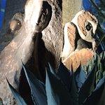 Sculptures adorn the displays.