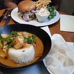 Thai chicken curry and Normandy burger