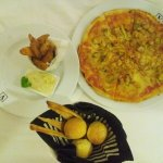 Seafood Pizza and Potato Wedges
