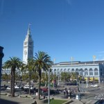View of ferry building from hotel room