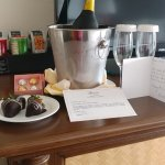 Prosecco and strawberries from the hotel to celebrate our 20th anniversary. Well done, Fairmont!