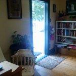 Guest laptop + door onto deck