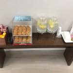Water with Lemon, Fresh Baked Cookies, Apples, and Oranges for our guest!