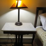 another marble top and retro lamp.
