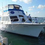 Boat which brings you to Turneffe from Belize City and back again