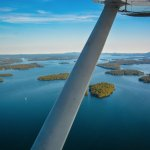 Aerial view looking south down Lake Winnipesaukee.