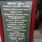 l'ardoise du menu à 18.50 € avec ses choix de plats