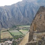View of the Inca food storage ruins