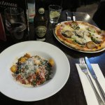pasta in squid ink, and eggplant pizza