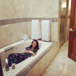 Sarah modeling our enormous bathroom | The Rose Table