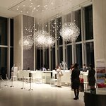 The sparkling lobby at night
