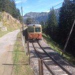 The train to Murren from tram stop at Grutschalp.