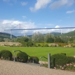 Great view of the as yet unfinished High Mosel Bridge from the Machern's immaculate gardens