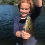 My daughter was an extremely happy camper as we landed in a spot where the fish didn't stop biti