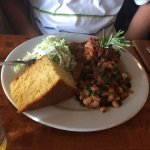 Pulled BBQ Pork, Dill Cole Slaw and Black and Black Posole with Corn Bread