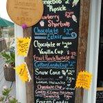 Food stand menu (Ice Cream and treats, etc)