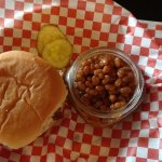 Pulled pork lunch special with baked beans