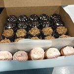 German chocolate, Oreo, and strawberry cupcakes