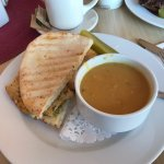 Chicken panini with split pea soup