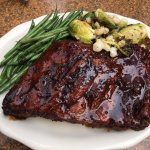 St Louis ribs, roasted Brussels sprouts, green beens