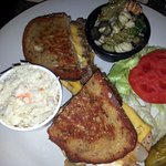 patty melt with cole slaw & macaroni salad